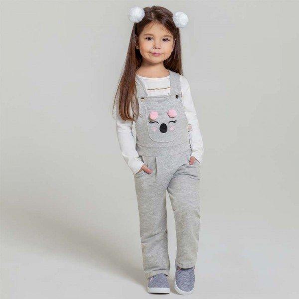 jardineira infantil menina coala mescla 6554 7434