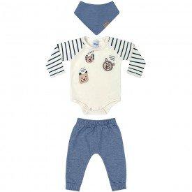 conjunto bebe menino com brinde bandana lion cream azul preto 6600 7444