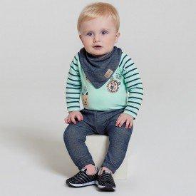 conjunto bebe menino com brinde bandana lion verde marinho 6600 7445 2