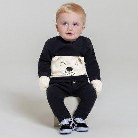 conjunto infantil bebe menino microsoft brinde luvas preto cream 6604 7453 2