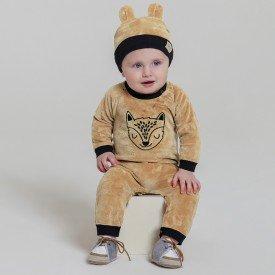 macacao infantil bebes meninos e touca caramelo preto 6608 7461