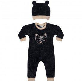 macacao infantil bebes meninos e touca preto caramelo 6608 7462