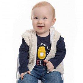 blusa infantil masculina meia malha marinho e colete pelo off 4154 7034