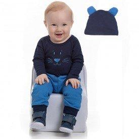 conjunto bebe masculino body e touca ribana marinho e calca azul palacio 4155 7037