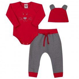 conjunto bebe masculino body e touca ribana vermelha e calca monumento 4155 7038