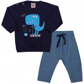 conjunto bebe masculino blusa moletom marinho e calca azul claro 4158 7047