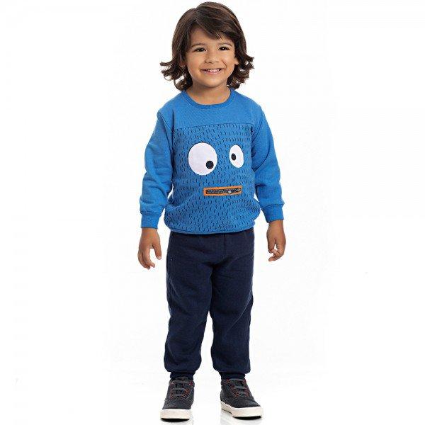 conjunto infantil masculino blusa azul palacio e calca moletom marinho 4165 7067