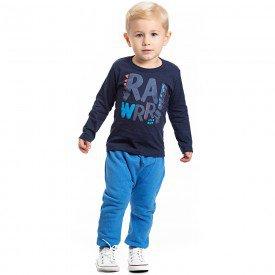 conjunto infantil masculino camiseta marinho e calca moletom 4172 7088