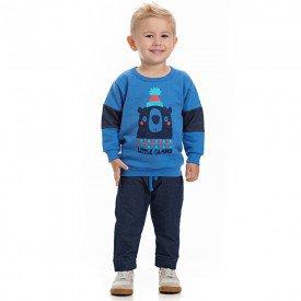 conjunto infantil masculino blusa azul palacio e calca cotton jeans marinho 4168 7076