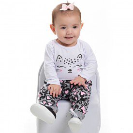 conjunto bebe feminino body cotton branco e calca moletom mescla 4103 6909