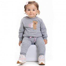 conjunto bebe feminino blusa moletom e calca mescla 4108