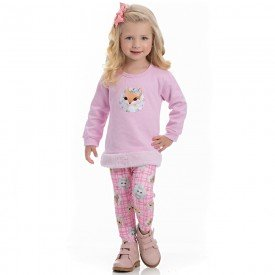 conjunto infantil feminino blusa moletom sorvete e legging suplex 4112 6936