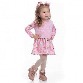 vestido infantil feminino suplex e colete em pelo sorvete 4113 6939