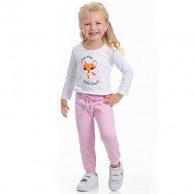 conjunto infantil feminino blusa cotton branca e calca moletom sorvete 4114 6942