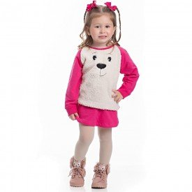 conjunto infantil feminino blusa e saia molecotton groselha e frente em pelo 4115 6945