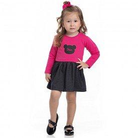 vestido infantil feminino cotton jeans groselha e bolero molecotton preto 4116 6948