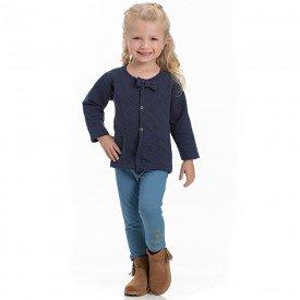 conjunto infantil feminino casaco matelasse marinho e leggin cotton jeans azul claro 4118 6954