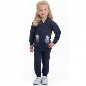 conjunto infantil feminino jaqueta e calca moletom e matelasse marinho 4120 6960