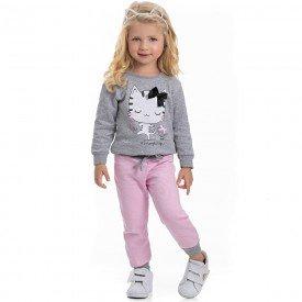 conjunto infantil feminino blusa moletom mescla e calca sorvete 4121 6962