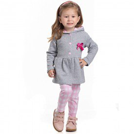 conjunto infantil feminino casaco moletom mescla e leggin sorvete 4122 6965