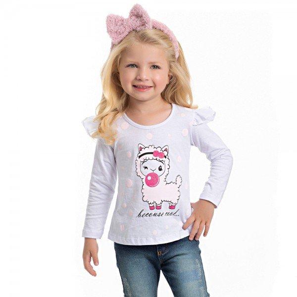 blusa infantil feminina meia malha branca 4125 6974
