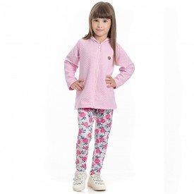 conjunto infantil feminino casaco matelasse sorvete e leggin estampada pink 4128 6983