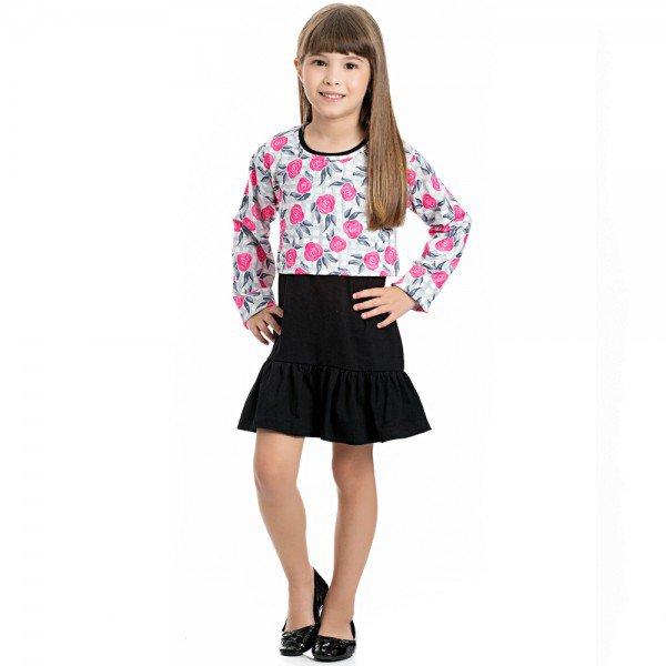 vestido infantil feminino cotton preto e bolero suplex 4129 6986