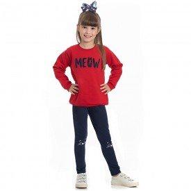 conjunto infantil feminino blusa moletom vermelha e leggin marinho 4131 6992