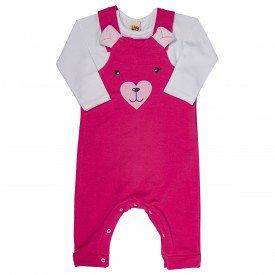conjunto jardineira infantil bebe menina ursinha pink branco 6391 7247
