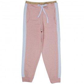 calca infantil menina jogger glitter rosa cha branco 6007 7867