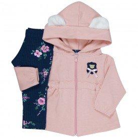 conjunto bebe menina coat orelhinhas rosa cha floral 2005