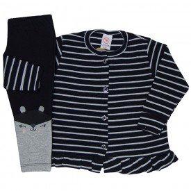 conjunto bebe feminino cardigan e legging bichinho preto mescla 18 2003 7668