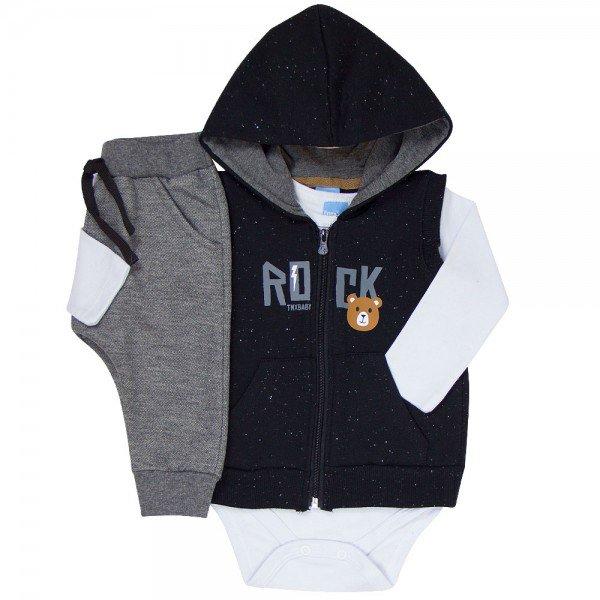trijunto bebe menino rock preto branco mescla grafite 4077 8139