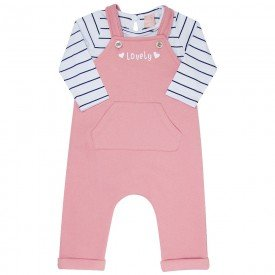 conjunto bebe menina body e jardineira blush branco preto 0073 8045 1