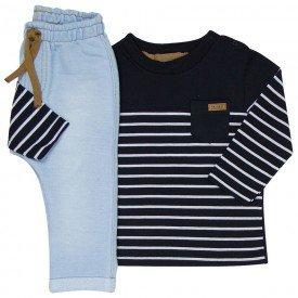 conjunto bebe masculino camiseta e calca preto moletom jeans 4078 8143 2