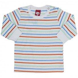 blusa bebe masculina meia malha listras coloridas branca 21019 7196