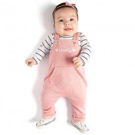 conjunto bebe menina body e jardineira rosa cha branco preto 0073 8043 1