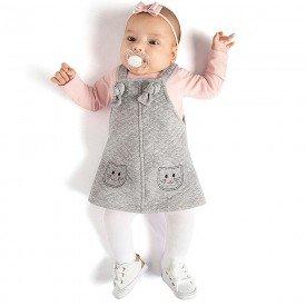 conjunto jardineira bebe menina blusa mescla petala 0068 8029 3