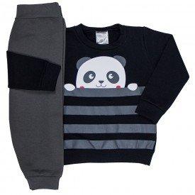 conjunto infantil bebe menino moletom panda preto chumbo 1199 6562