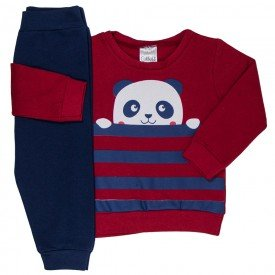 conjunto infantil bebe menino moletom panda vermelho marinho 1199 6561