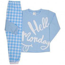 pijama infantil masculinho hello monday meia malha azul branco 1237 6675
