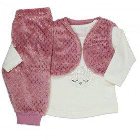 conjunto infantil feminino 3 pecas marfim rosa 11383 8251