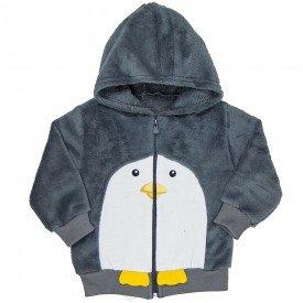 casaco bebe masculino pinguim em moletom e pelo chumbo 11472 8266