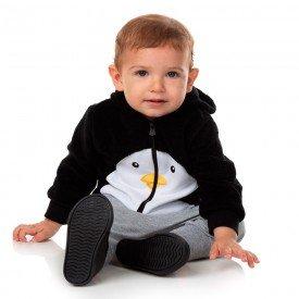 casaco bebe masculino pinguim em moletom e pelo chumbo 11472 8267 1