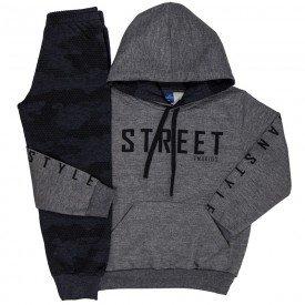 conjunto infantil masculino street moletom mescla grafite mescla chumbo 6305 8196
