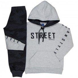 conjunto infantil masculino street moletom mescla light mescla chumbo 6305 8197