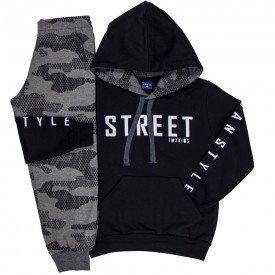 conjunto infantil masculino street moletom preto mescla grafite 6305 8195