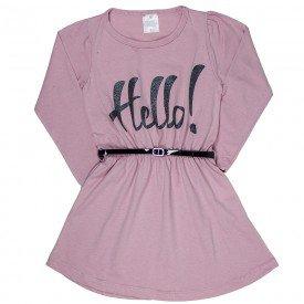 vestido meia malha feminino infantil de mangas rosa claro com cinto 1188 6527