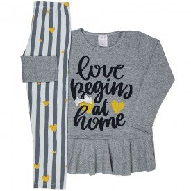 conjunto infantil feminino blusa meia malha mescla e leggin branca 1197 6555