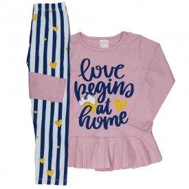 conjunto infantil feminino blusa meia malha rosa claro e leggin branca 1197 6556